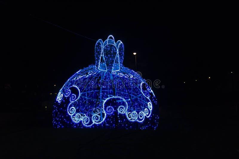 Cracovia alla notte durante il tempo di pre-Natale, Polonia immagine stock libera da diritti
