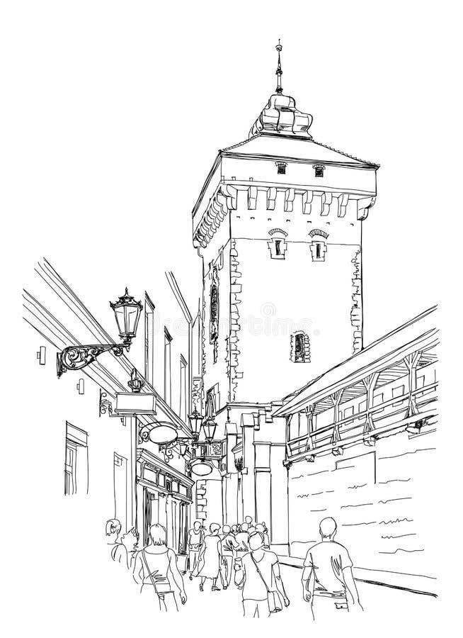 cracovia poland Torre della parete della città illustrazione di stock