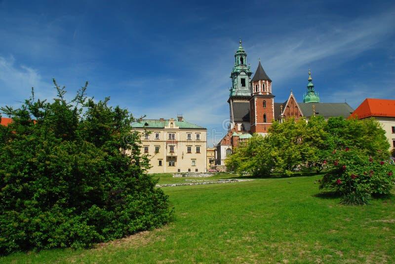Cracovia, Polonia. Castello e cattedrale di Wawel fotografia stock libera da diritti