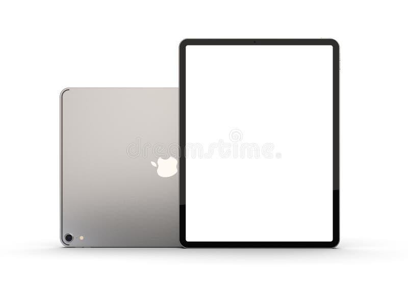 Cracovia, Polonia - 31 de noviembre de 2018: iPad favorable una nueva versión de la tableta de Apple ilustración del vector