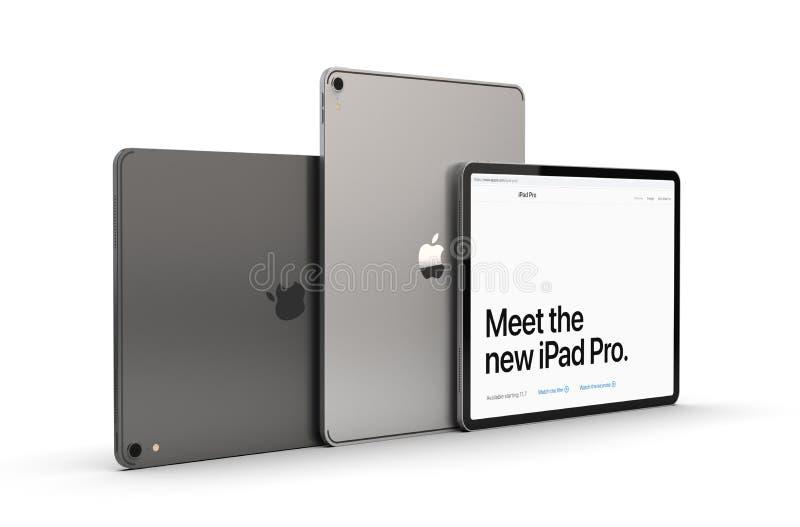Cracovia, Polonia - 31 de noviembre de 2018: iPad favorable una nueva versión de la tableta de Apple stock de ilustración
