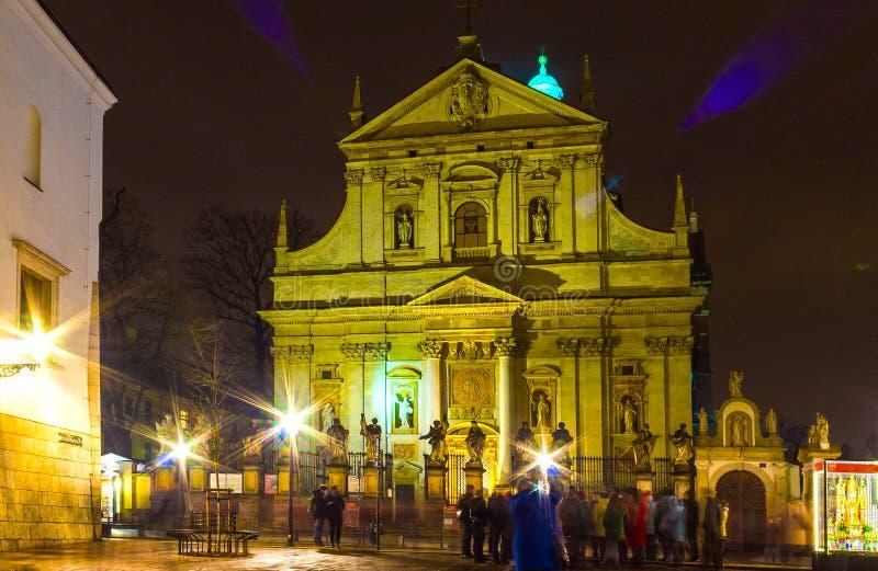 Cracovia, Polonia - 29 dicembre 2017: facciata della chiesa barrocco di St Peter e di Paul a Cracovia, Polonia fotografia stock