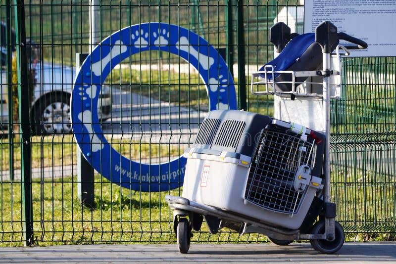 Cracovia, Polonia 04 01 2019: portador de mascotas de caja grande gris en carro cerca de la zona de paseo de los animales o un lu imagenes de archivo