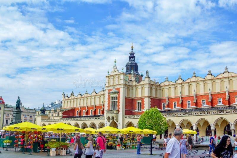 Cracovia - vista del quadrato principale del mercato fotografia stock libera da diritti