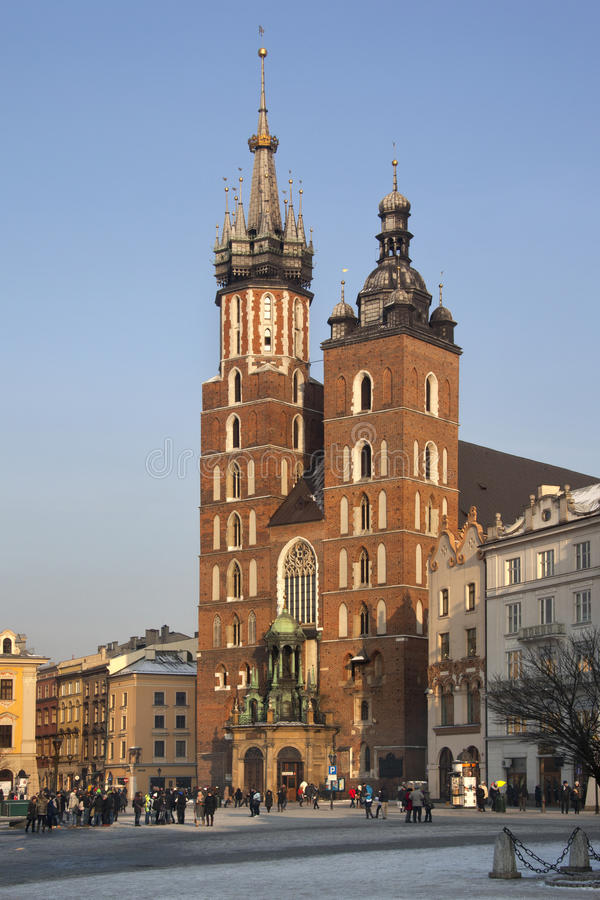 Cracovie - église de rue Mary - Pologne images stock