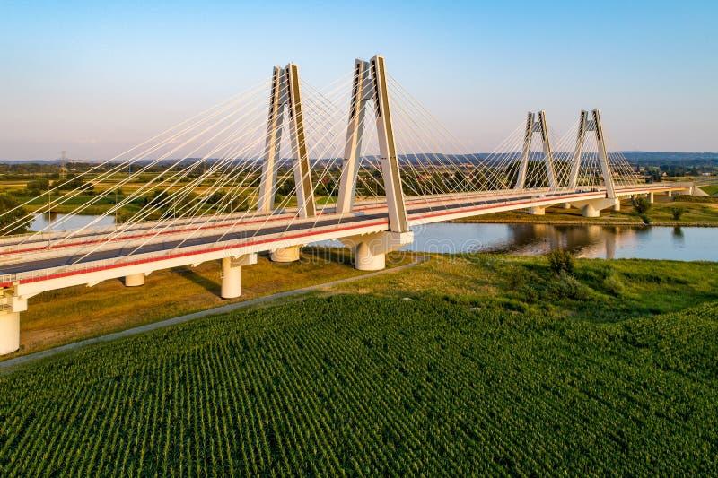 Cracovie, Pologne Le double câble-est resté le pont au-dessus du riv de la Vistule images stock