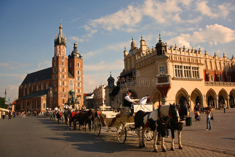 Cracow (Krakow, Poland). The main square of Cracow (Krakow), Poland. UNESCO World Heritage site royalty free stock image
