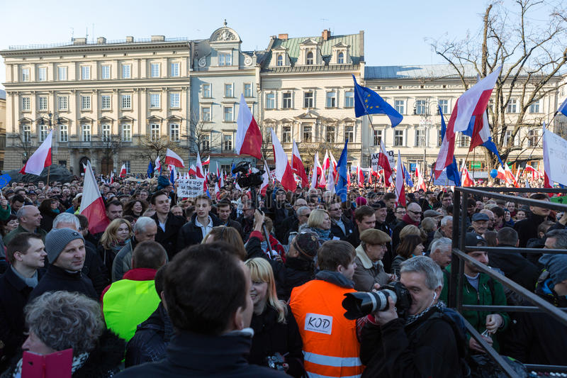 Cracow, Main Square - The demonstration of the Committee of Defence of Democracy against the break of law through the government. CRACOW, POLAND - DECEMBER 19 stock photos