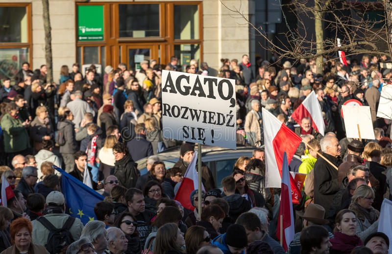 Cracow, Main Square - The demonstration of the Committee of the Protection of Democracy. CRACOW, POLAND - DECEMBER 19, 2015: Cracow, Main Square - The stock images