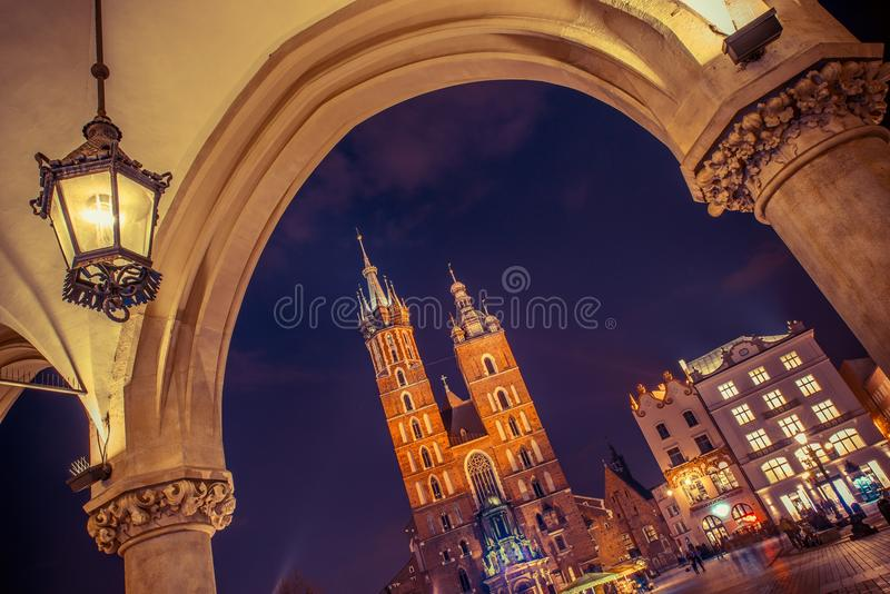 Cracow Mariacki Church. Main Square Cracow, Lesser Poland, Europe. Krakow Old Town royalty free stock image