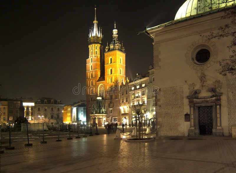 Cracow by night royalty free stock photography