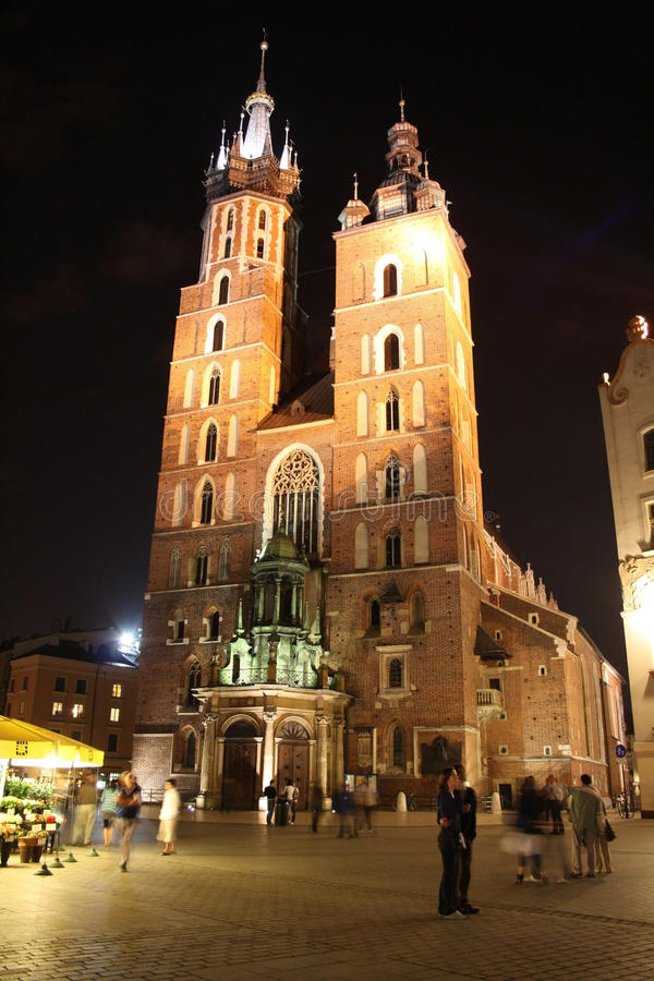 cracow noc Krakow Poland obrazy stock