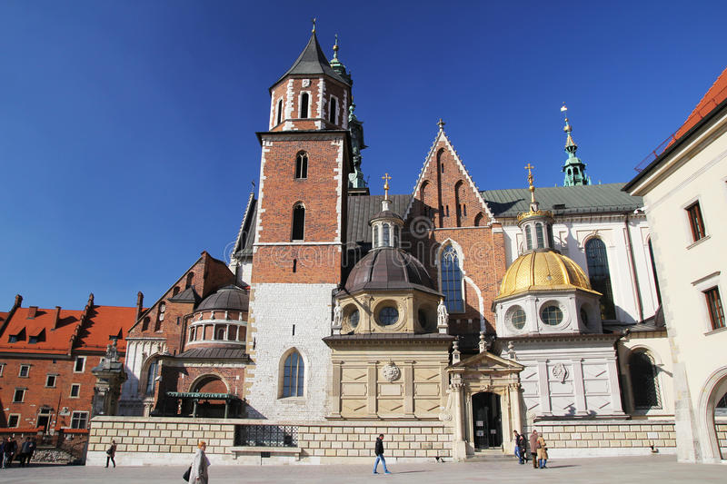 Cracow old cathedral. The old historic wawel cathedral inside the castle at cracow in poland royalty free stock image