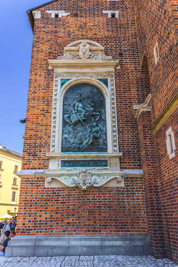 Cracow-Poland-brick wall of Mariacki Church stock photos