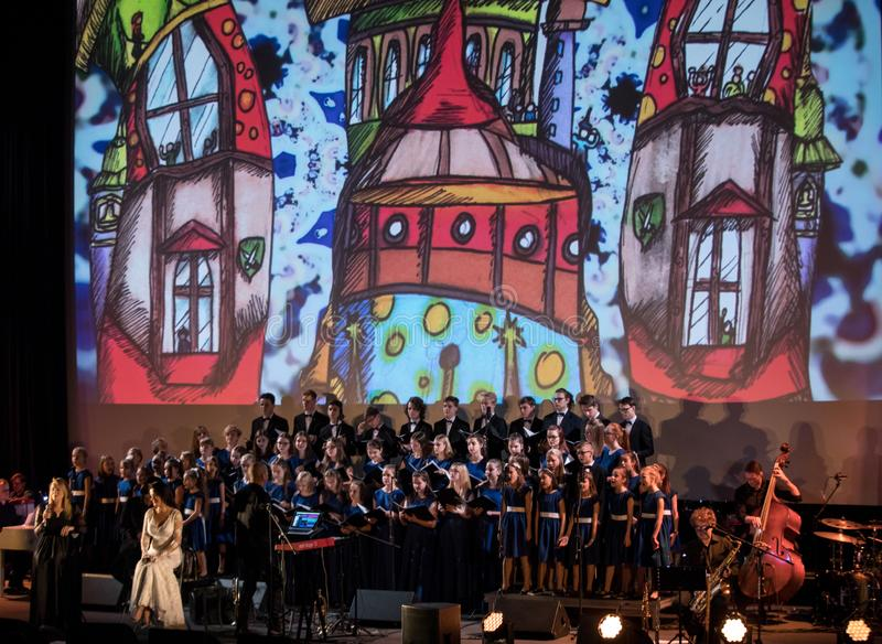 The Multimedia Christmas Oratory - to Bethlehem performed by the Filharmonia Futura and Choir Fermata. Cracow. Poland. Cracow, Poland - December 7, 2018: the stock photography