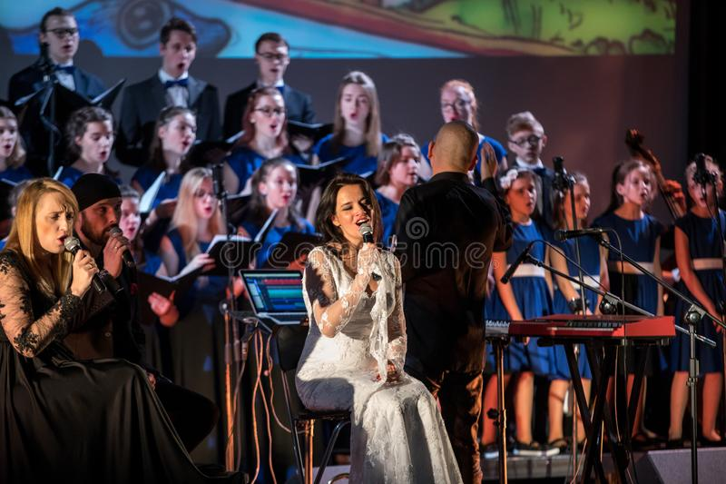 The Multimedia Christmas Oratory - to Bethlehem performed by the Filharmonia Futura and Choir Fermata. Cracow. Poland. Cracow, Poland - December 7, 2018: the stock images