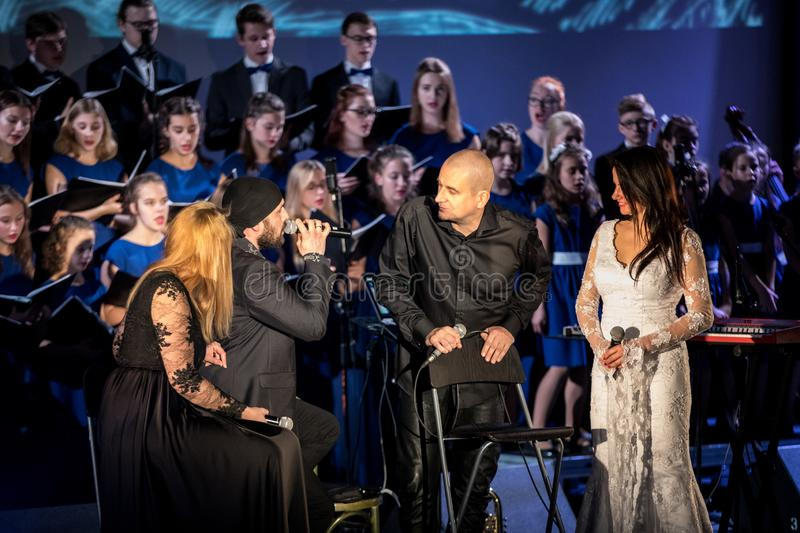 The Multimedia Christmas Oratory - to Bethlehem performed by the Filharmonia Futura and Choir Fermata. Cracow. Poland. Cracow, Poland - December 7, 2018: the royalty free stock photography
