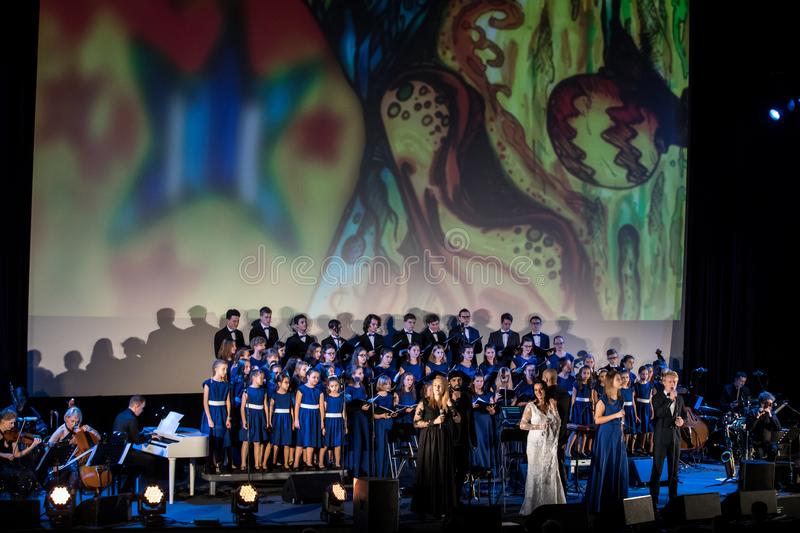 The Multimedia Christmas Oratory - to Bethlehem performed by the Filharmonia Futura and Choir Fermata. Cracow. Poland. Cracow, Poland - December 7, 2018: the stock image
