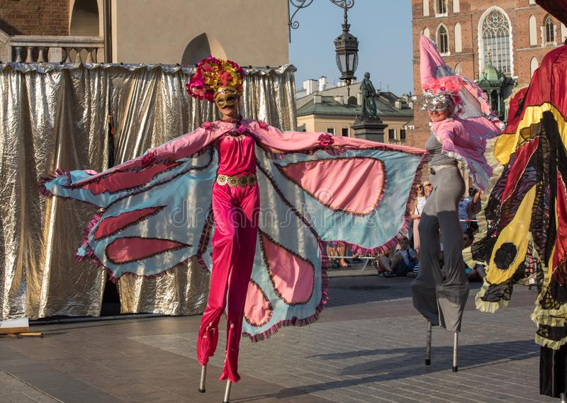 Performance of Dance Pageant performed byThe Kiev street Theatre Highlights at 31th Street - International Festival of Street Thea. Cracow, Poland - July 5, 2018 stock image