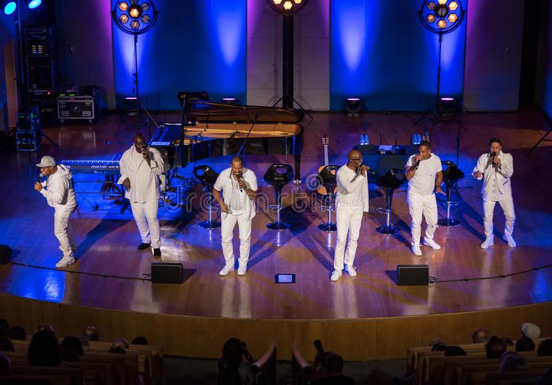 Take 6 live on stage of Auditorium Maximum UJ at the Summer Jazz Festival in Krakow. Cracow, Poland - July 8, 2018: Take 6 live on stage of Auditorium Maximum stock image