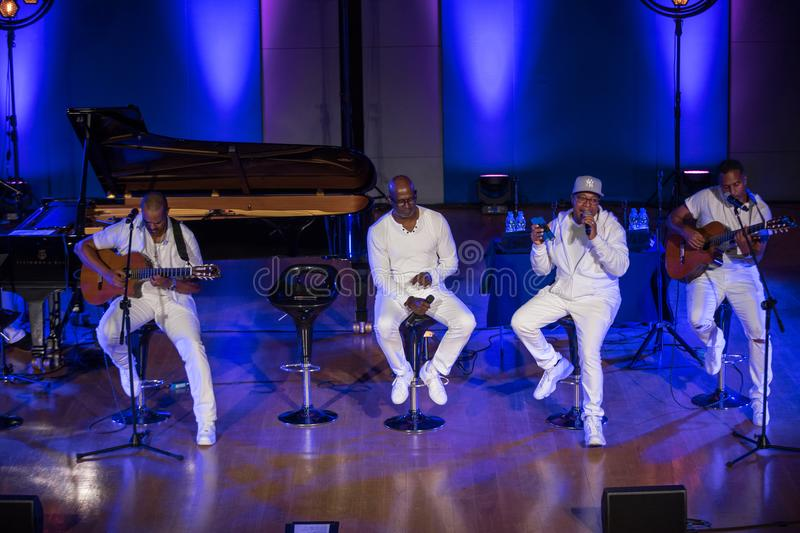Take 6 live on stage of Auditorium Maximum UJ at the Summer Jazz Festival in Krakow. Cracow, Poland - July 8, 2018: Take 6 live on stage of Auditorium Maximum royalty free stock photography