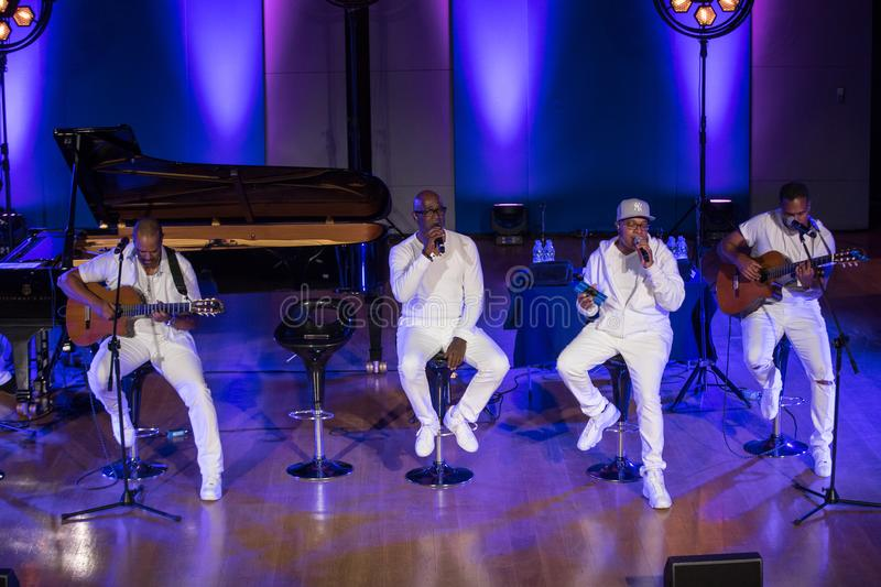 Take 6 live on stage of Auditorium Maximum UJ at the Summer Jazz Festival in Krakow. Cracow, Poland - July 8, 2018: Take 6 live on stage of Auditorium Maximum royalty free stock photos