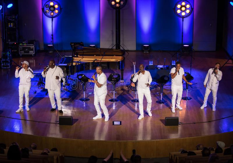 Take 6 live on stage of Auditorium Maximum UJ at the Summer Jazz Festival in Krakow. Cracow, Poland - July 8, 2018: Take 6 live on stage of Auditorium Maximum stock images