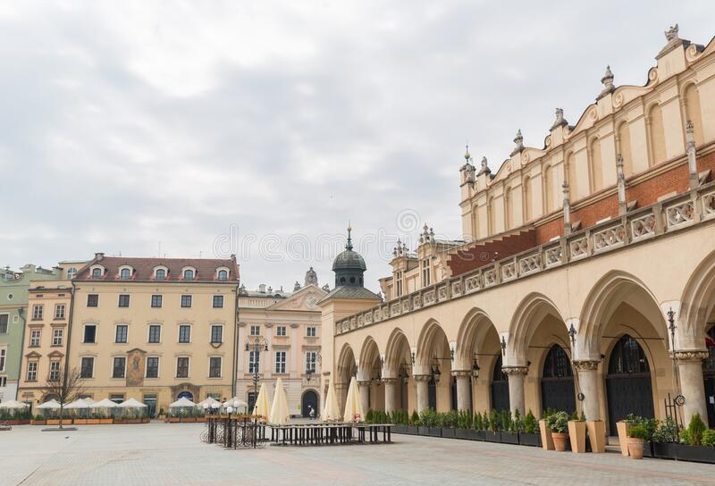 Cracow, Poland - March 19, 2020 Cloth Hall in main square of Krakow. Poland`s historic center, a old town with ancient. Cracow, Poland - March 19, 2020 St. Main royalty free stock photography