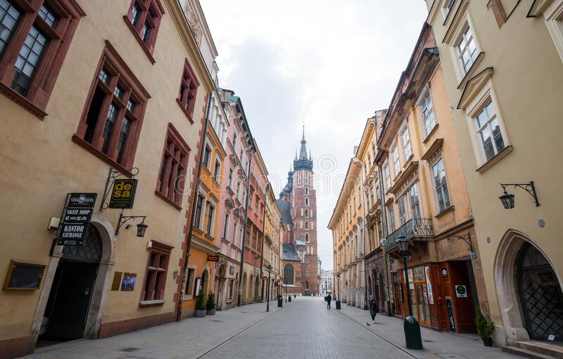 Cracow, Poland - March 19, 2020 St. Mary`s basilica in main square of Krakow. Poland`s historic center, a old town with ancient. Architecture royalty free stock photo