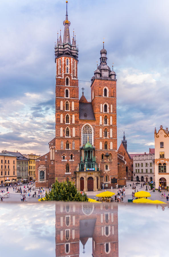 Cracow-Poland-Mariacki Church-World Youth Day 2016-clock royalty free stock photos