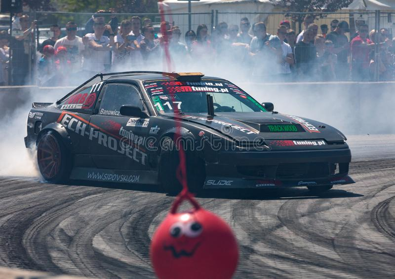 Drift car in action  at 5th edition of Moto Show in Cracow. Poland. Cracow, Poland - May 18, 2019: Drift car in action  at 5th edition of Moto Show in Cracow royalty free stock photos