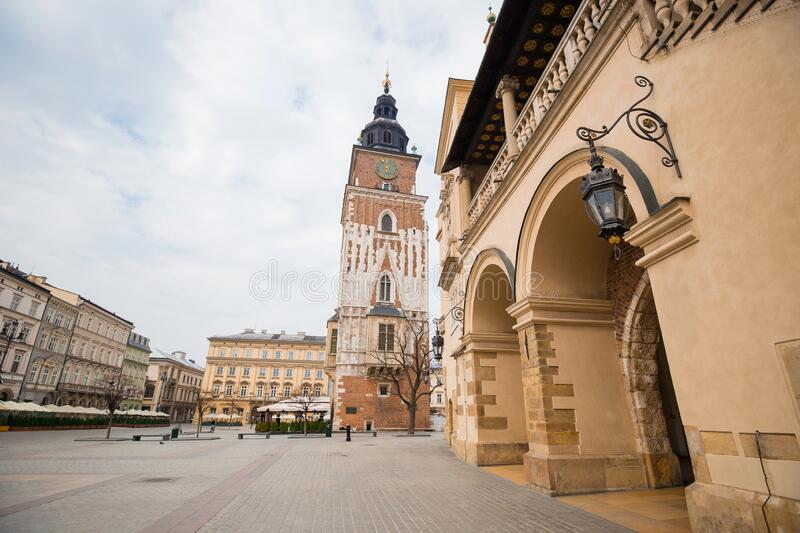 Cracow, Poland - March 19, 2020 Town Hall Tower, Poland`s historic center, a old town with ancient architecture. Quarantine in th. Cracow, Poland. Town Hall royalty free stock photos