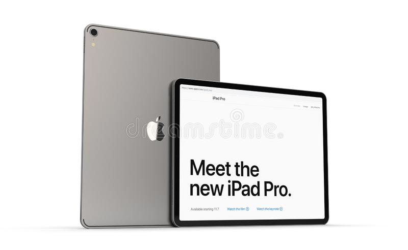 Cracow Polen - November 31, 2018: pro-iPad en ny version av minnestavlan från Apple stock illustrationer