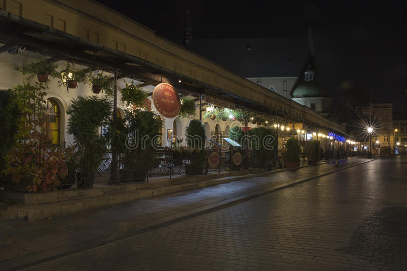 Cracow, Stolarska Street by night royalty free stock photos