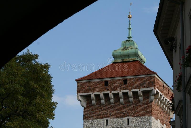 Cracow torn, gammal stad royaltyfria foton