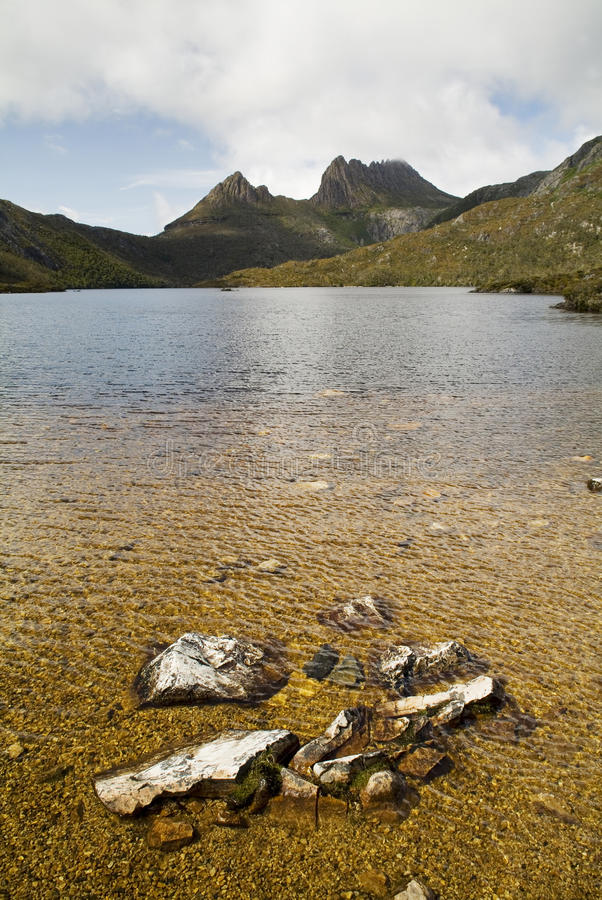 Cradle Mountain. The iconic image of Tasmania, Cradle Mountain sits majestic atop the the jewel that is Dove Lake royalty free stock photography