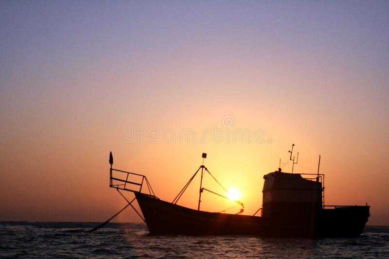 Craft barge resting on the high seas royalty free stock photos