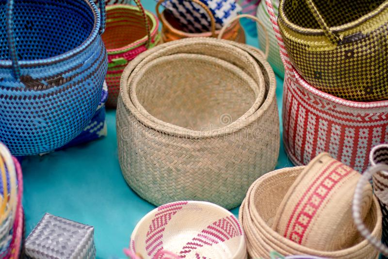 Craft Baskets. Baskets and more with the most traditional materials of Mexico royalty free stock images
