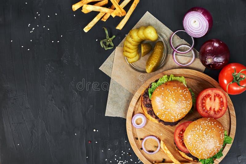 Craft beef burgers. Top view. stock photo