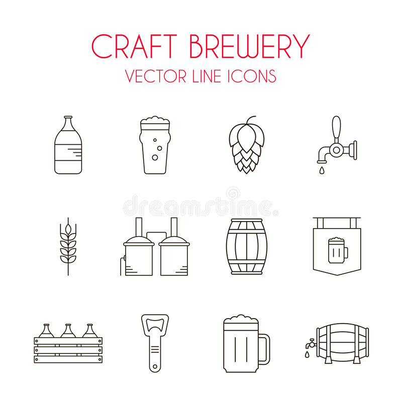 Free Craft Beer And Brewery Vector Line Icon Set Stock Image - 70957691