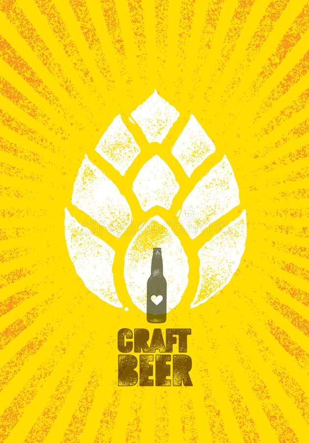 Craft Beer Brewery Artisan Creative Vector Stamp Sign Concept. Rough Handmade Alcohol Banner. Menu Page Design Element stock illustration