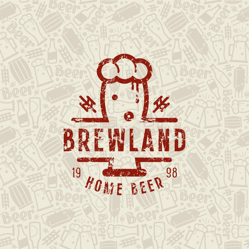 Craft beer brewery seamless pattern and emblem royalty free illustration