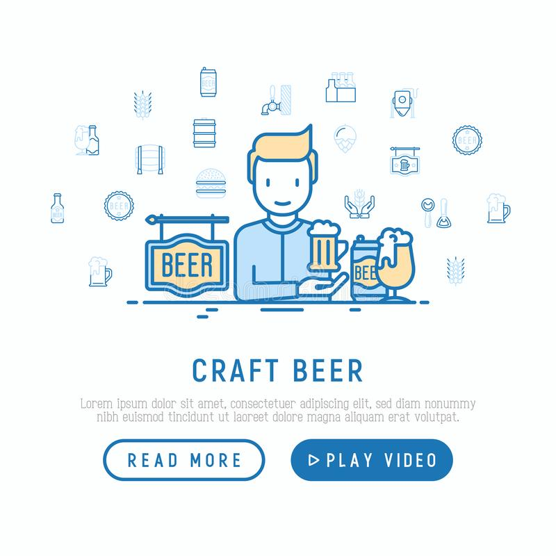 Craft beer concept: man and mag with foam. Thin line icons related to Octoberfest: beer pack, hop, wheat, bottle vector illustration
