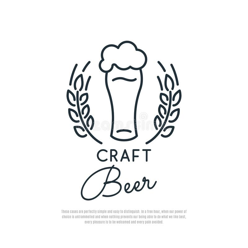 Craft Beer Icon. Glass of beer with foam and spikelets of wheat. vector illustration