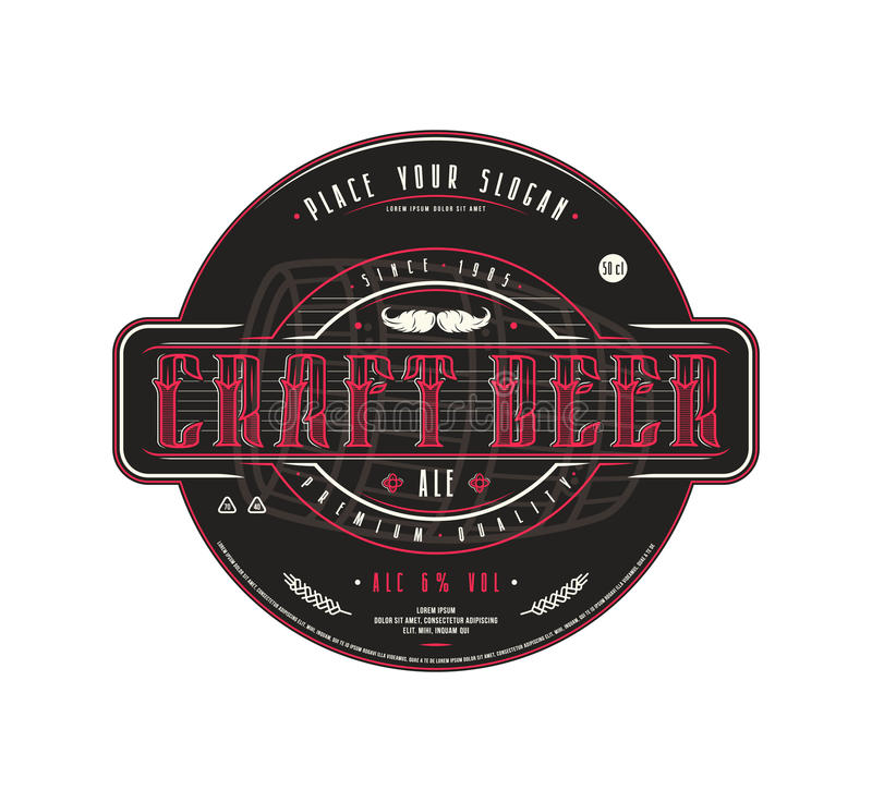 Craft beer label template in vintage style royalty free illustration