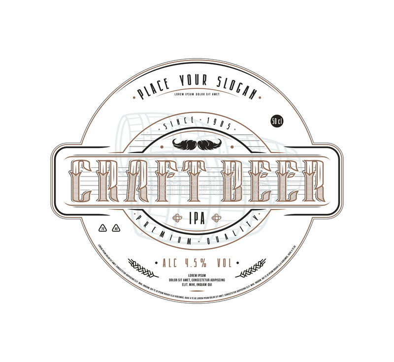 Craft beer label template in vintage style. Label with white background stock illustration