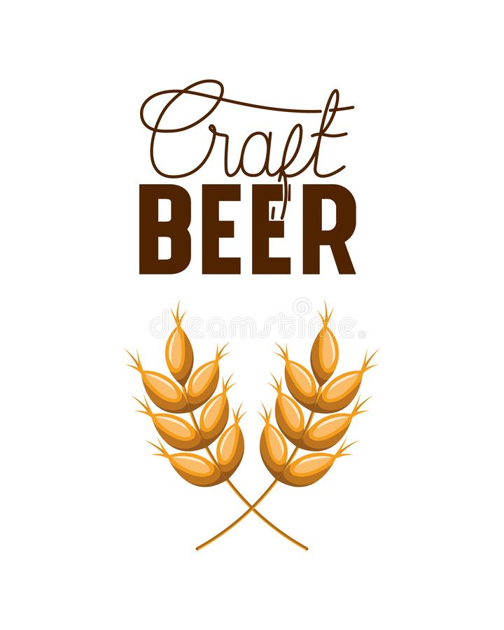 Craft beer label with wheat leaves icon vector illustration