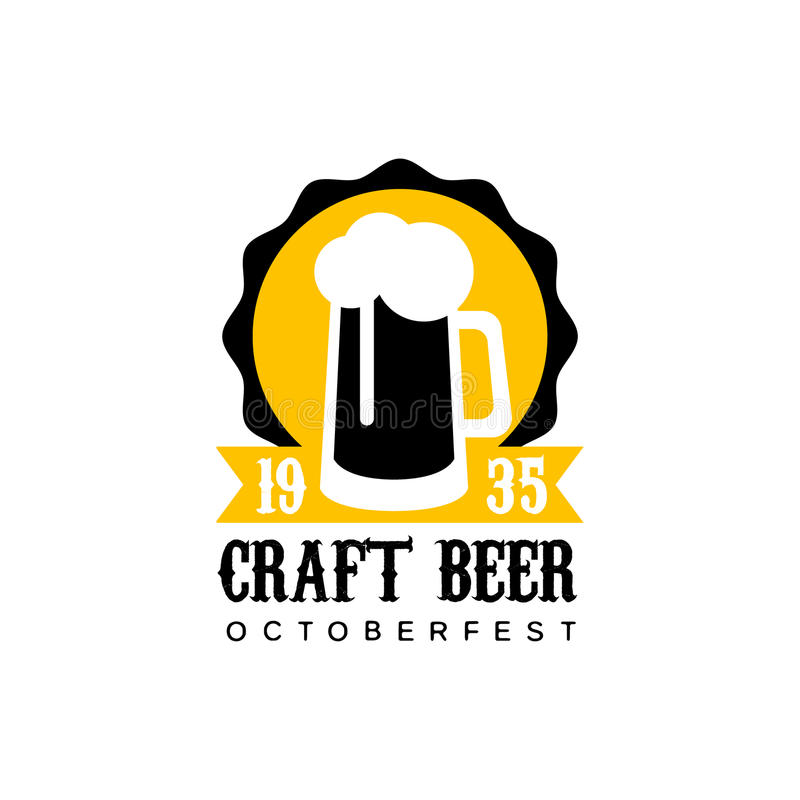 Craft beer logo design template with pint stock vector for Craft beer logo design
