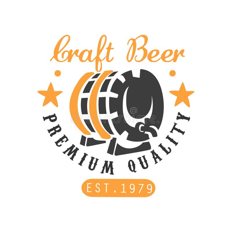 Craft beer logo template with barrel and stars. Creative black and orange emblem. Vector design for brewing company. Craft beer logo template with barrel and stock illustration
