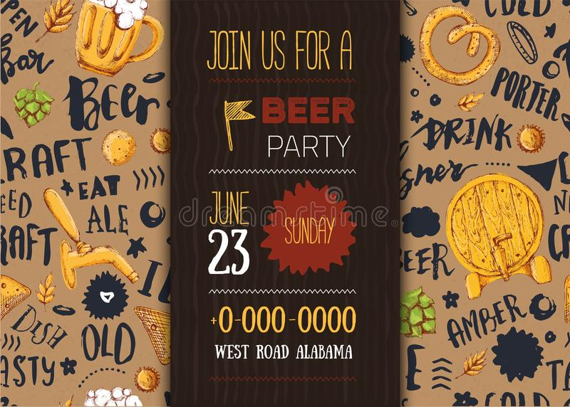 Craft beer menu with sketch mug, pretzel, wheat on pattern background with lettering. Modern poster vector illustration